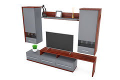 Modern Living Room Wall Unit. 3d Rendering Stock Photo