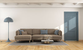 Modern living room. Modern white living room with brown and blue sofa and closed door - 3d rendering Royalty Free Stock Photos
