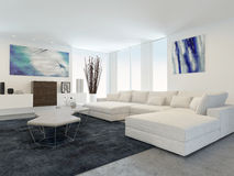 Modern Living Room with White Furniture Royalty Free Stock Images