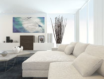 Modern Living Room with White Furniture Royalty Free Stock Photos