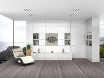 Modern living room with white wall boarding Royalty Free Stock Photo