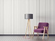 Free Modern Living Room With Armchair And Lamp. Scandinavian Interior Design Furniture. Stock Photography - 131491642