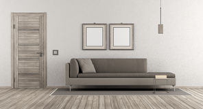 Modern living room. With wooden door and contemporary sofa on white wall - 3d rendering stock illustration