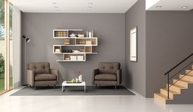 Modern living room. Wuth two armchairs,bookcase and wooden stair - 3d rendering Stock Image
