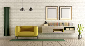 Modern living room. With yellow armchair and sideboard on brick wall - 3d rendering Royalty Free Stock Photo