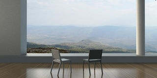 Modern - Living rooms and chair minimal on the view outside mountains. And the sky royalty free stock photo