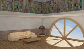 Modern living with rounded window. Interior of one apartment in a urban attic Royalty Free Stock Photos
