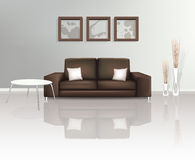 Modern Living Space with Brown Sofa Stock Photography