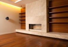 Modern livingroom interior. Fireplace in modern living room Stock Photography