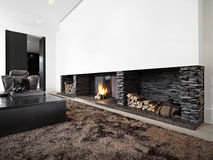 Modern livingroom with large fireplace royalty free stock image