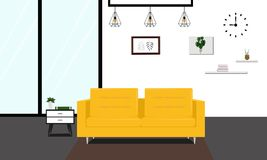 Modern livingroom with yellow sofa. Interior vintage style apartment furniture Stock Photo