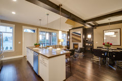 Modern ljus kök- och vardagsruminre Arkivbilder