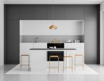 Modern ljus kökinterior Minimalistic kökdesign med stången och stolar illustration 3d fotografering för bildbyråer