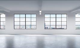 Modern ljus ren inre av ett vindstilöppet utrymme Enorma fönster och vita väggar New York panorama- stadssikt Royaltyfri Foto