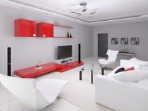 Modern ljus vardagsrum i högteknologisk stil vektor illustrationer