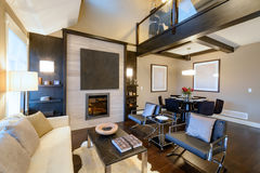Modern ljus vardagsrum med en spis Royaltyfria Bilder