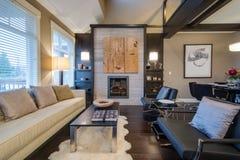 Modern ljus vardagsrum med en spis royaltyfria foton