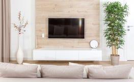 Modern ljus vardagsrum med tvutrustning arkivbilder