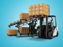 Modern loading forklift products in paper boxes on wooden pallets 3d render on blue background with shadow stock illustration
