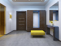 Modern lobby hallway in the contemporary style. Brown furniture, glass interior doors are yellow. 3D render Stock Photos