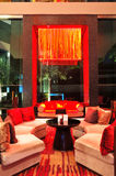Modern lobby interior in night illumination Stock Images