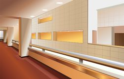 Modern lobby interior vector. Modern lobby interior on brown color, vector Stock Images