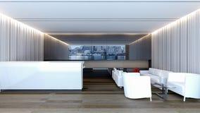 Modern lobby med den wood tolkningen golv/3D Arkivbild