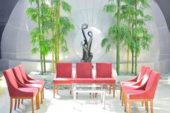 Modern lobby or waiting room design. Modern chairs and waiting room design in a private hospital with bright background Stock Images