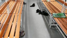 Modern locker room in sport club. Modern small locker room in sport club stock video footage