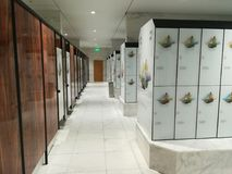 Modern lockers for clothes. And rooms for changing clothes at Therme Bucharest, Balotesti, Romania Stock Images