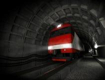 Modern locomotive in the dark tunnel Royalty Free Stock Photo