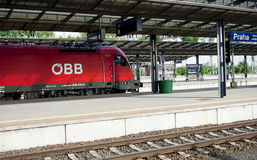 Modern locomotive in Prague railway station, raw Royalty Free Stock Photo
