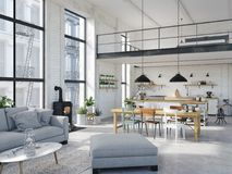 Modern loft apartment. 3d rendering. 3d rendering. loft apartment with living room and kitchen Stock Images