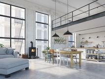 Modern loft apartment. 3d rendering. 3d rendering. loft apartment with living room and kitchen Stock Photo