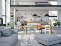 Modern loft apartment. 3d rendering. 3d rendering. loft apartment with living room and kitchen Royalty Free Stock Image