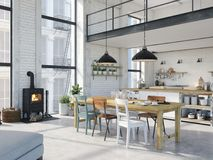 Modern loft apartment. 3d rendering Stock Images