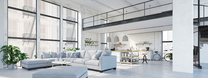 Modern loft apartment. 3D rendering. 3D rendering. loft apartment with living room and kitchen Royalty Free Stock Images