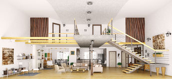 Modern loft apartment interior in cut 3d render Stock Images