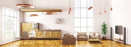 Modern loft apartment interior panorama 3d rendering Stock Photo