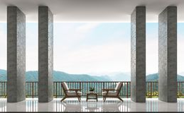 Modern loft balconies and living area with panoramic views of mountains 3d rendering image Stock Image