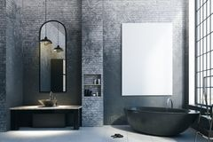 Modern loft bathroom with empty billboard. Modern loft bathroom interior with appliances, city view and empty billboard on concrete wall. Mock up, 3D Rendering Royalty Free Stock Photos