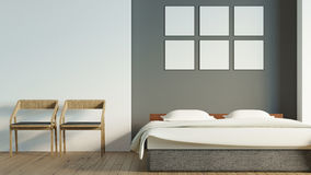 Modern loft bedroom with blank poster / 3d render image Stock Image