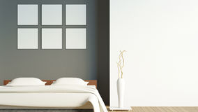 Modern loft bedroom with blank poster / 3d render image. Rendering bedroom modern loft style with wood floor, vase and blank poster Royalty Free Stock Photography