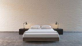 Modern Loft Bedroom. 3d render vector illustration