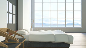 Modern loft bedroom / 3d render image Royalty Free Stock Photos