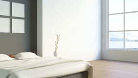 Modern loft bedroom / 3d render image Royalty Free Stock Image