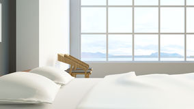 Modern loft bedroom / 3d render image Stock Photo