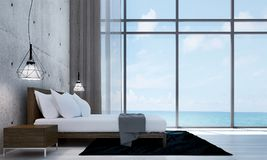 The modern loft bedroom interior design and concrete wall texture background. 3d rendering interior design concept idea of  bedroom Royalty Free Stock Image