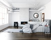 Modern loft bedroom. Interior concept. 3d render stock illustration