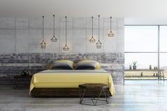 Modern loft bedroom vector illustration
